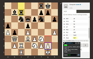 Chess bot shows best move at chess.com