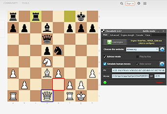 Chess bot shows best move at lichess